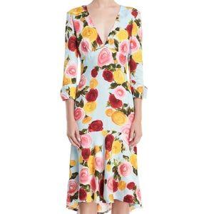Naeem Khan Deep V floral midi dress Size 4 NWT